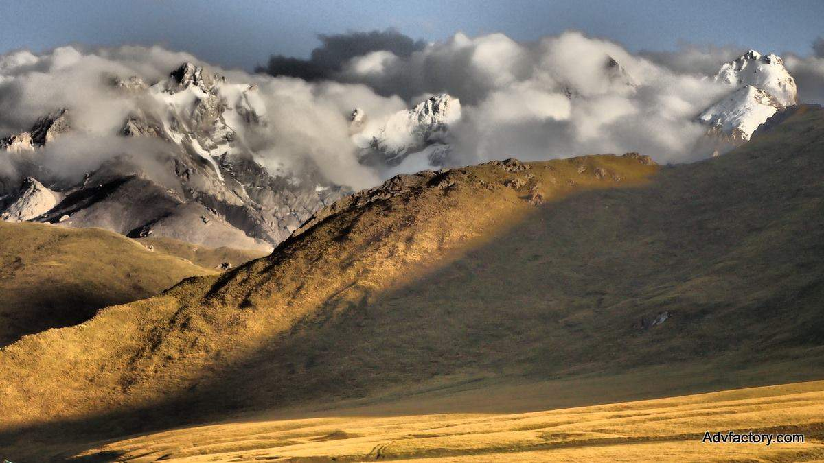 Mountains in Kyrgyzstan. Kyrgyzstan motorcycle trip with Advfactory