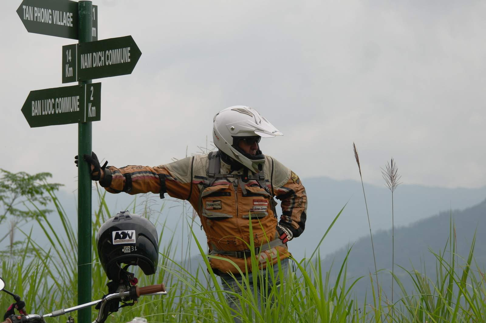 Crossroads in mountains. Mountain road in Vietnam. Vietnam motorcycle trip with Advfactory